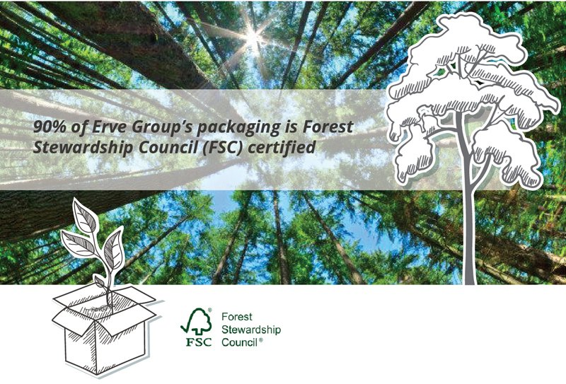 90% of Erve Group's packaging is FSC certified