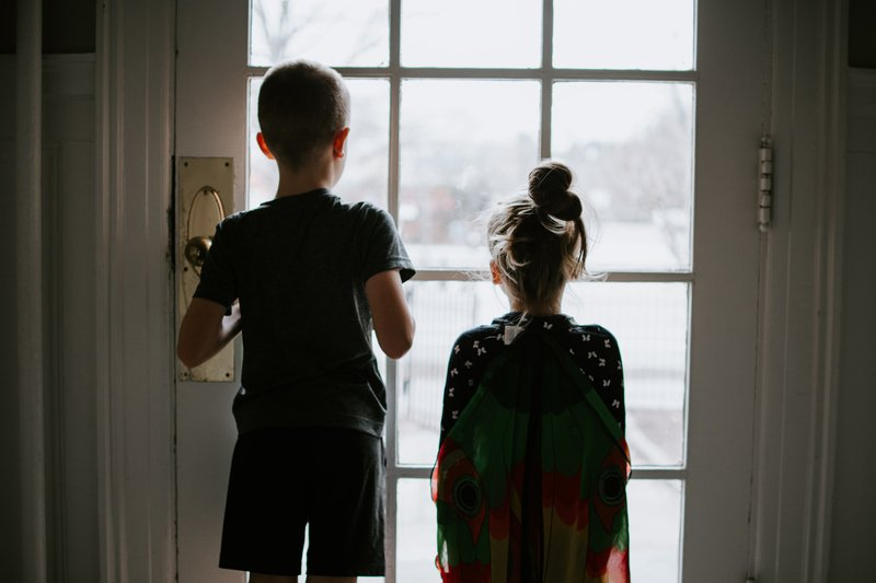 Presidential Powers: Kids looking outside at the world. Stuck inside during a pandemic quarantine.