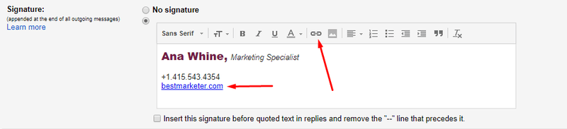 add link to email signature in gmail