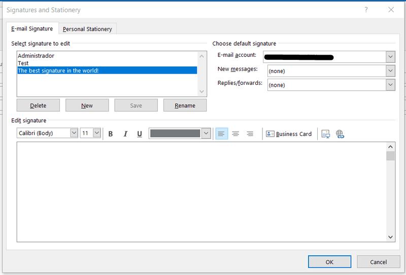 Signatures editing window