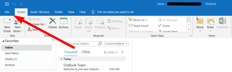 Press 'File' in Outlook
