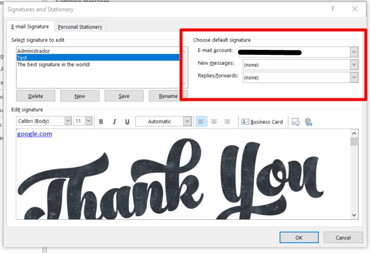 Manage default signatures