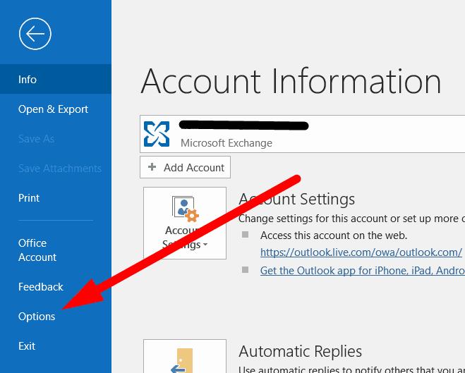Open Outlook 'Options'