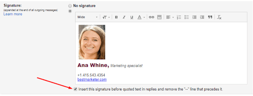 remove two dashes in gmail email signature