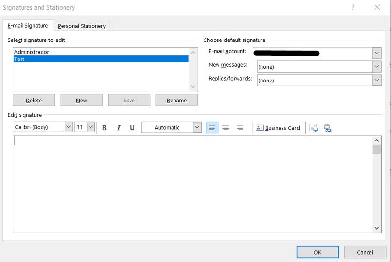 Signatures editor window
