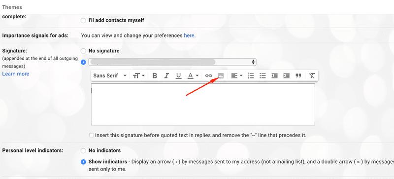 Click insert image icon Gmail signature
