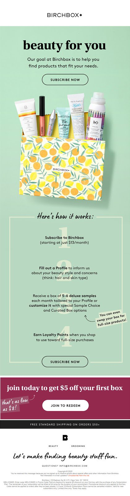 Birchbox Example - 2nd Email in Series