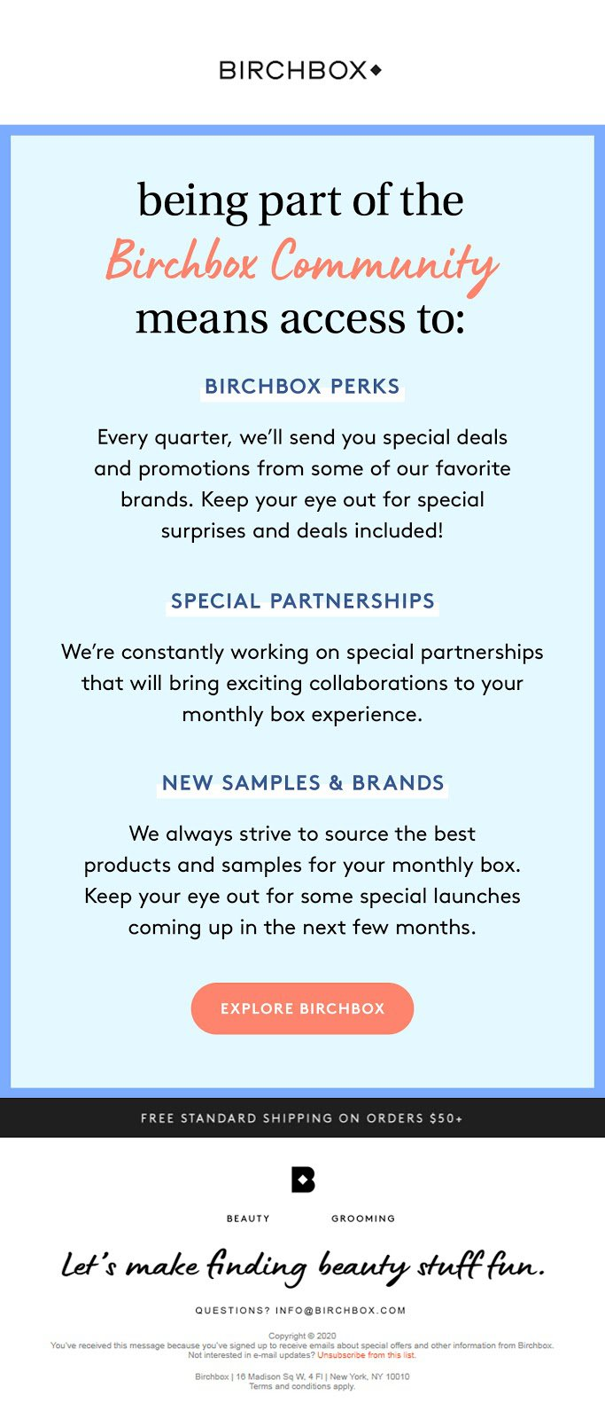 Birchbox Example - 3rd Email in Series