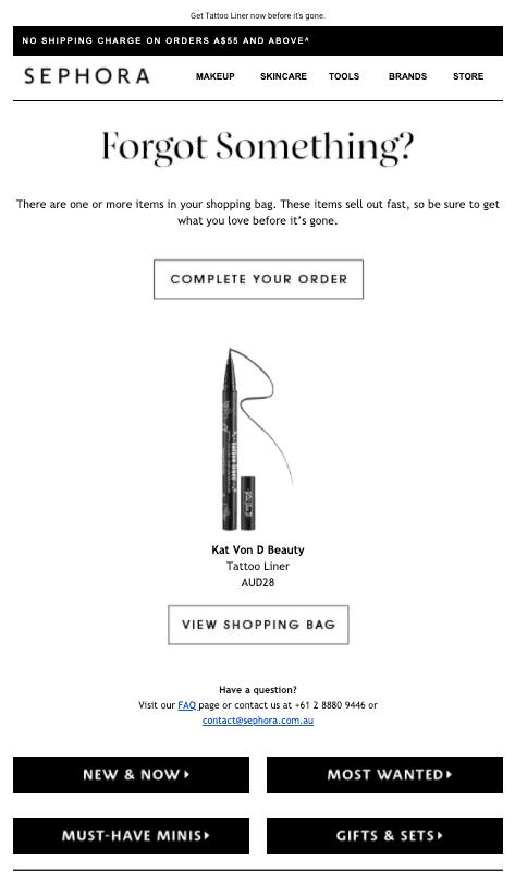 Sephora Cart Abandonment Email
