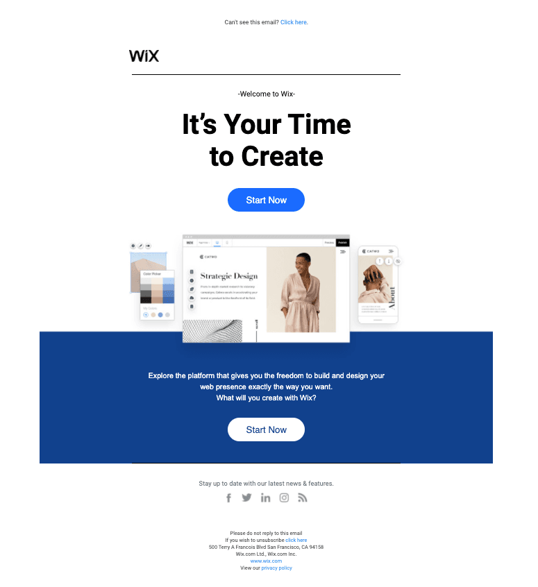 Wix Welcome Email