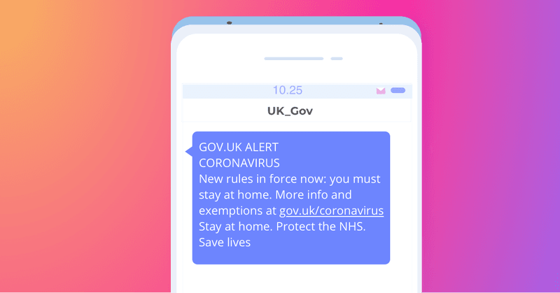 UK Coronavirus SMS message - stay home