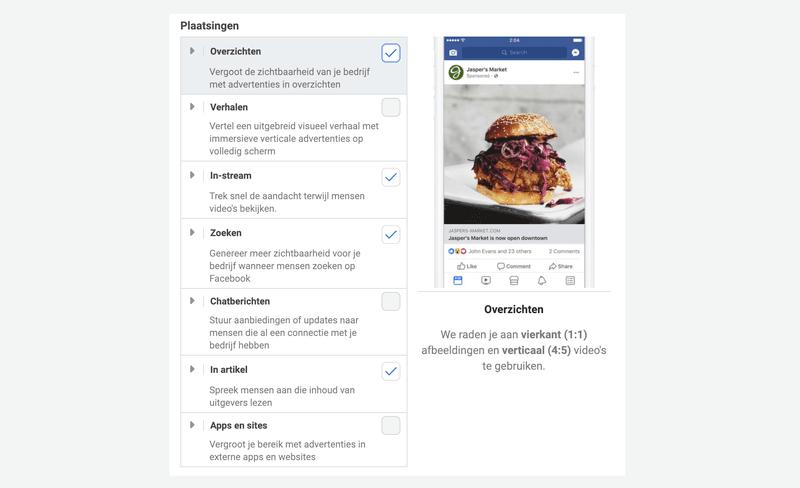 Advertentie-indelingen en plaatsingen op Facebook en Instagram