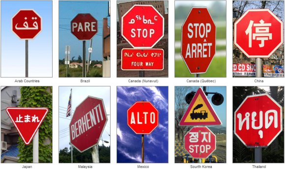 Various international stop signs, each with STOP written in English or the country's national language