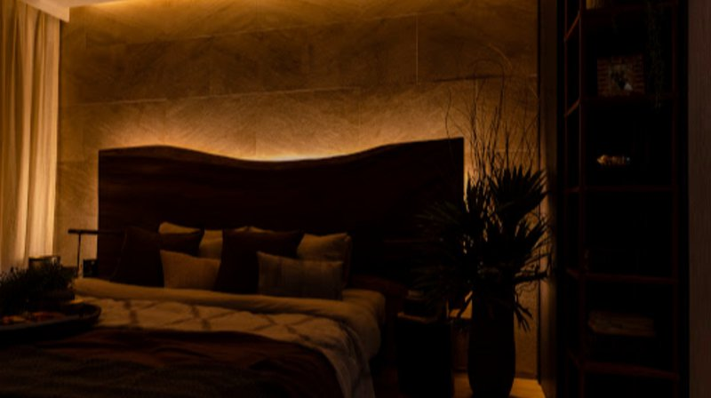 dim lit bedroom for wellbeing