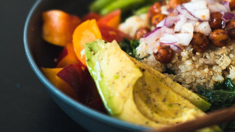 fresh bowl with avocado and quinoa