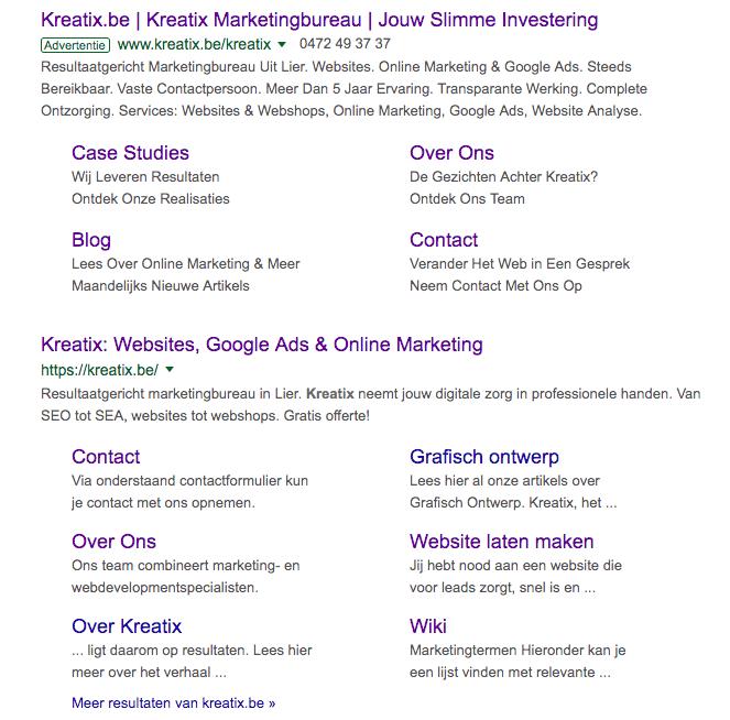 kreatix brand campagne zoekresultaten