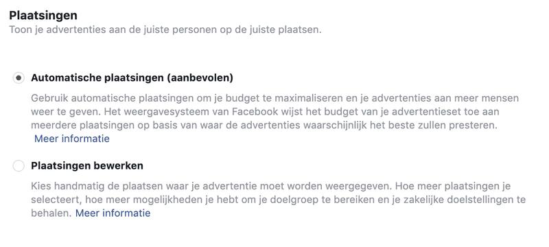plaatsingen facebook ads
