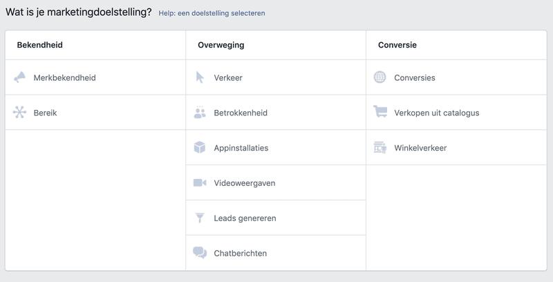 marketingdoelstelling facebook ads