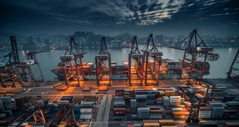 Industrial port with containers in Hong Kong