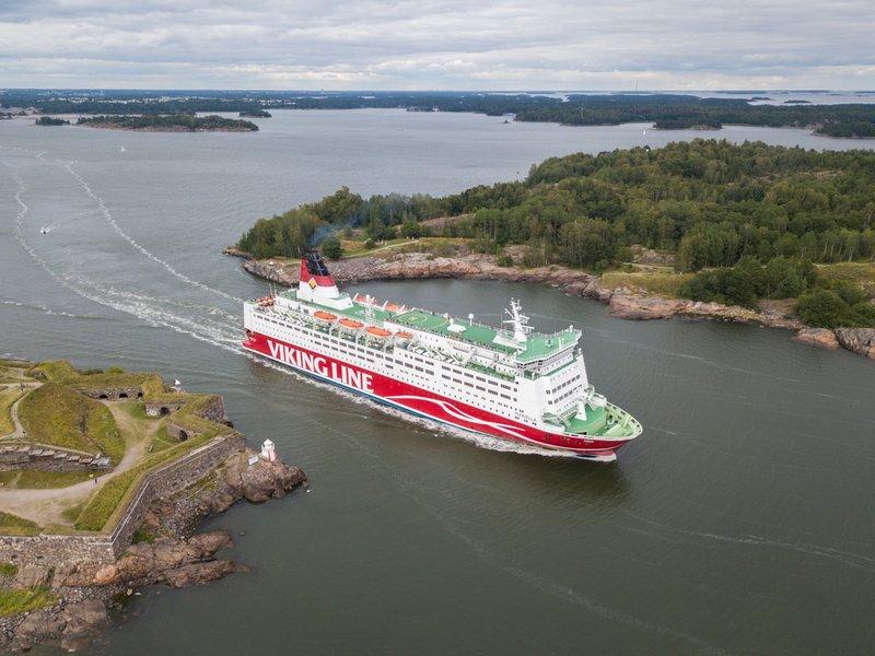 "Viking Line passenger ferry ""Mariella"" cruises through Kustaanmiekka strait in Helsinki, Finland."