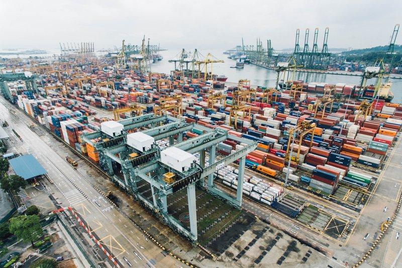 Busy cargo port
