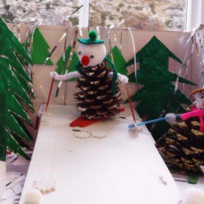 Christmas Fair pinecone competition - pine cone snowman