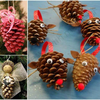 Christmas Fair pinecone competition - pine cone angel and reindeer