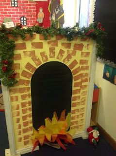 Bluetack brickwork and black paper for the arch of your Chimney