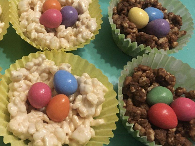 Easter PTA ideas - mini eggs in rice crispie nests