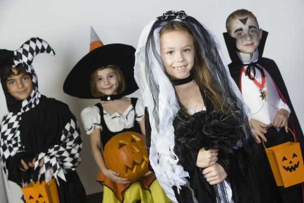 Kids dressed up for PTA Halloween event