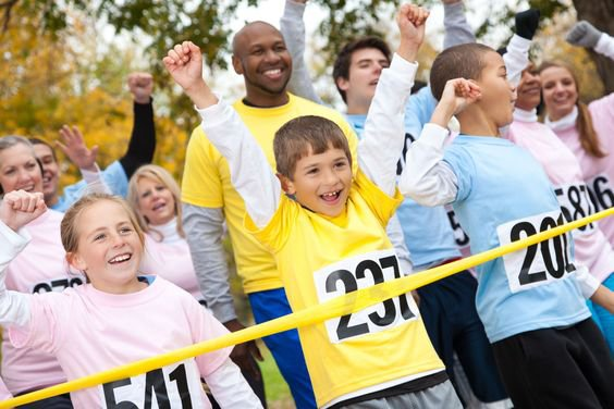 #ptahour roundup blog from PTAsocial  - kids celebrating at race finish line