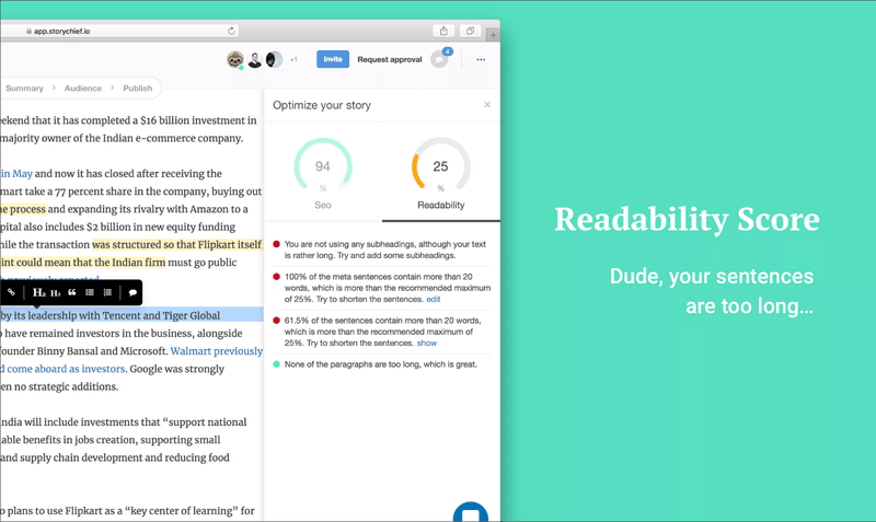 Story Chief Readability Tool