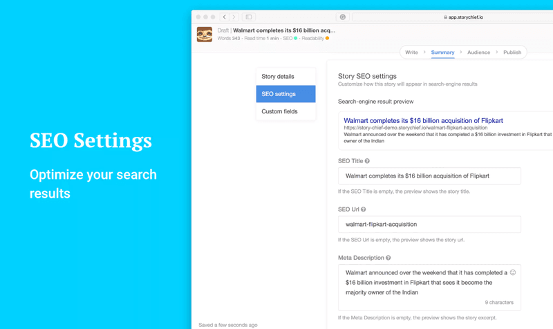 Story Chief SEO Tool for Organize Search Results