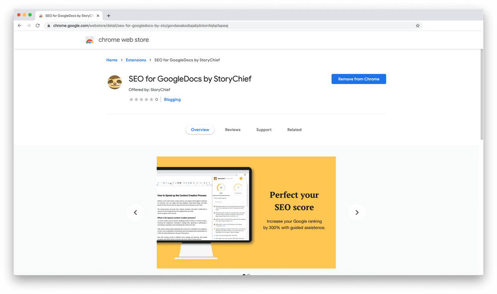 Screenshot of what the SEO Chrome extension looks like in the Chrome store