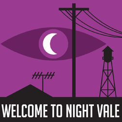 Thumbnail of welcome to night vale. Black desert city, purple background with an eye in it. Moon in the iris of the eye