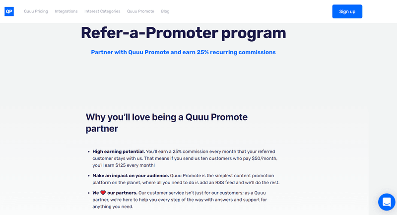 Affiliate marketing opportunity: quuu