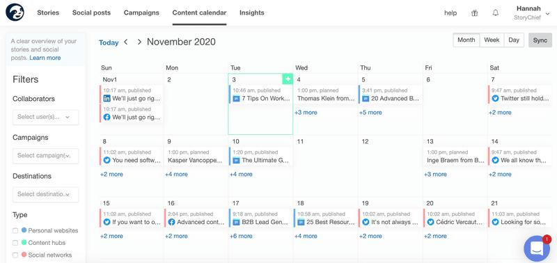 Content Calendar StoryChief