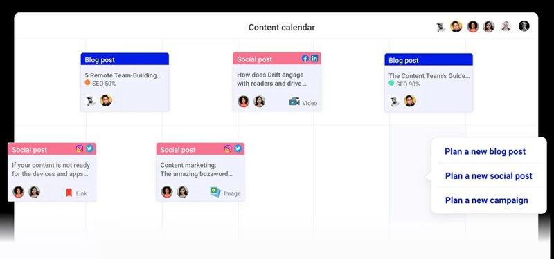 StoryChief's content calendar