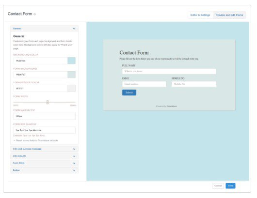 Lead Gen Web forms to collect customer information