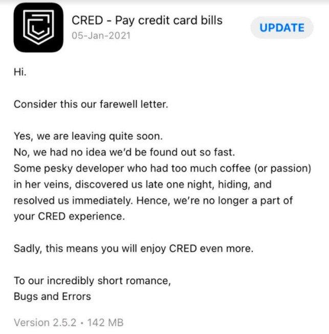 cred app marketing update content
