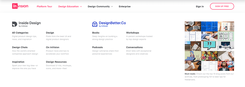 InVision content marketing strategy example: inside design & designbetter.co