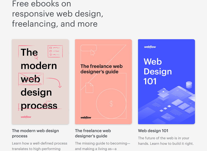 Webflow content marketing strategy example: ebooks