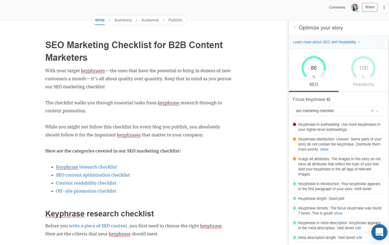 SEO marketing checklist: StoryChief screenshot