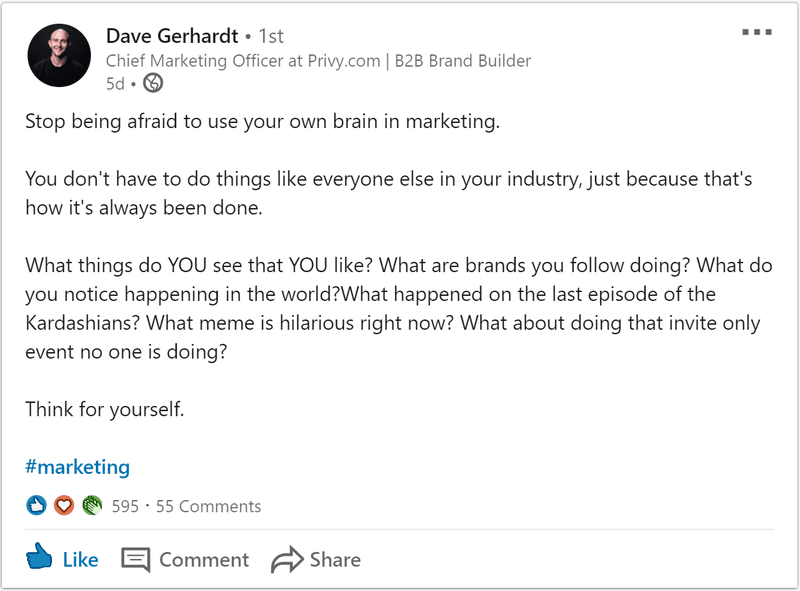Screenshot of Dave Gerhardt LinkedIn's post about social media trends