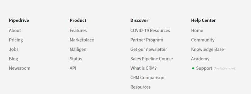 Pipedrive Content Marketing Strategy Example: footer