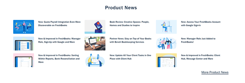 Freshbooks content marketing strategy teardown example: Product News