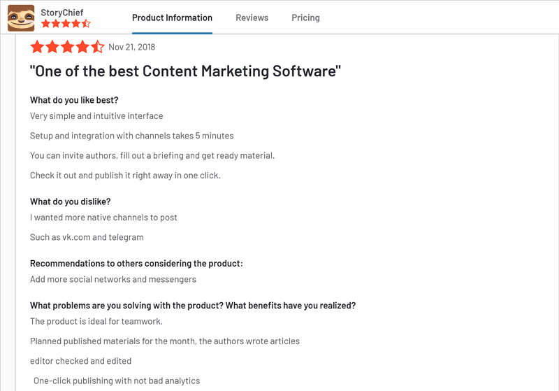 Content Marketing Software, StoryChief review