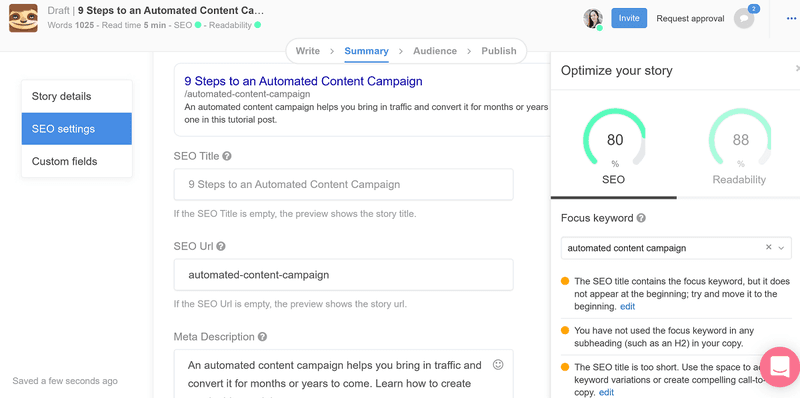 Automated content campaign: Example on how to optimise your SEO with StoryChief