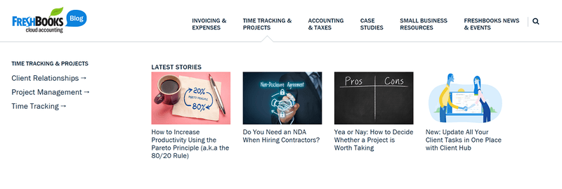 Freshbooks content marketing strategy teardown example: Freshbooks subcategories