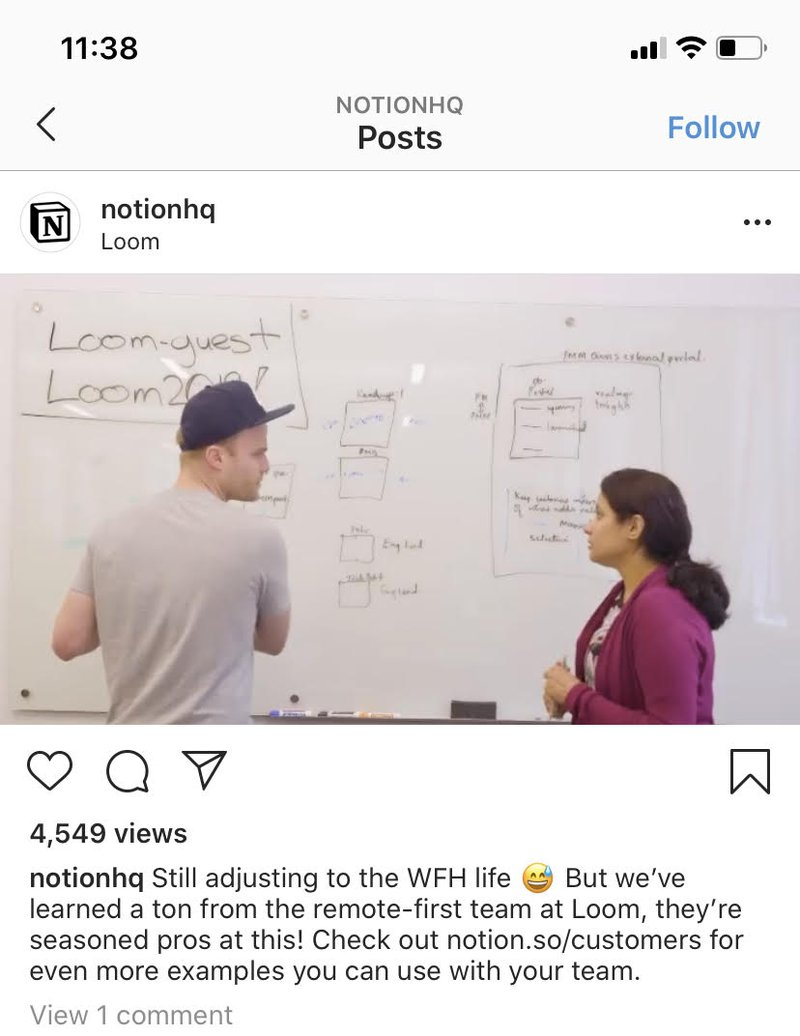 Notion instagram post as an example of great Instagram B2B marketing